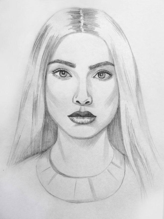 Нарисованная девочка карандашом картинки, стоковые фото ...