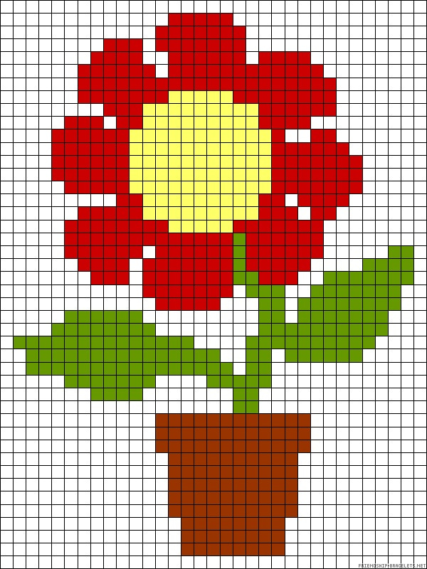 Рисунки или картинки по клеточкам роза