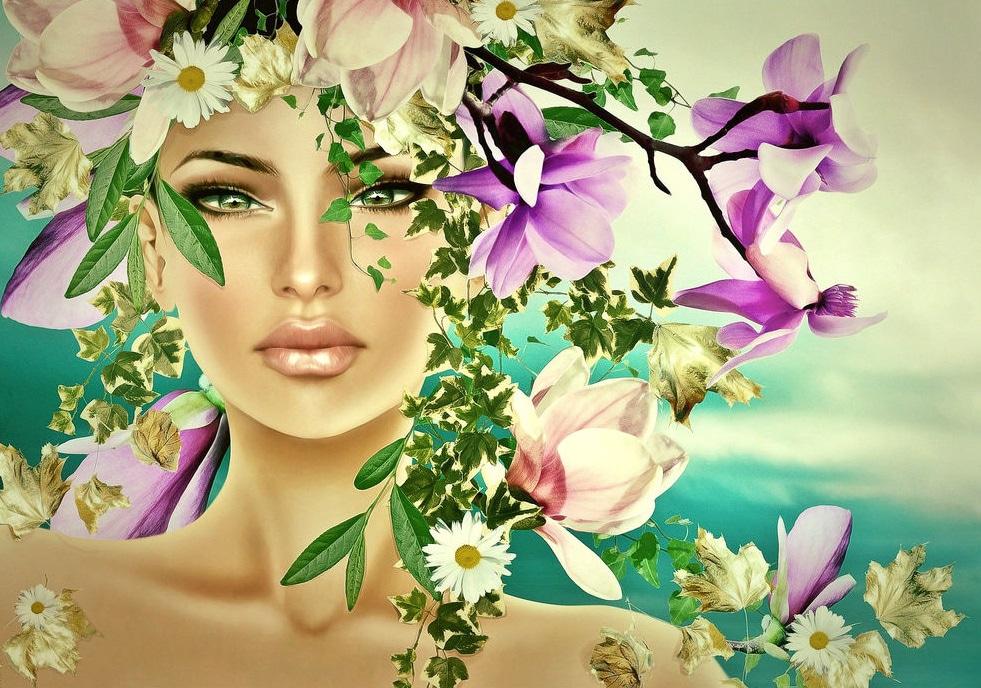 Открытка женщина в цветах, отправлять