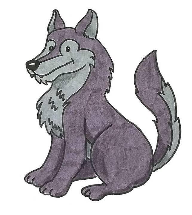 Волк картинка для детей нарисованные