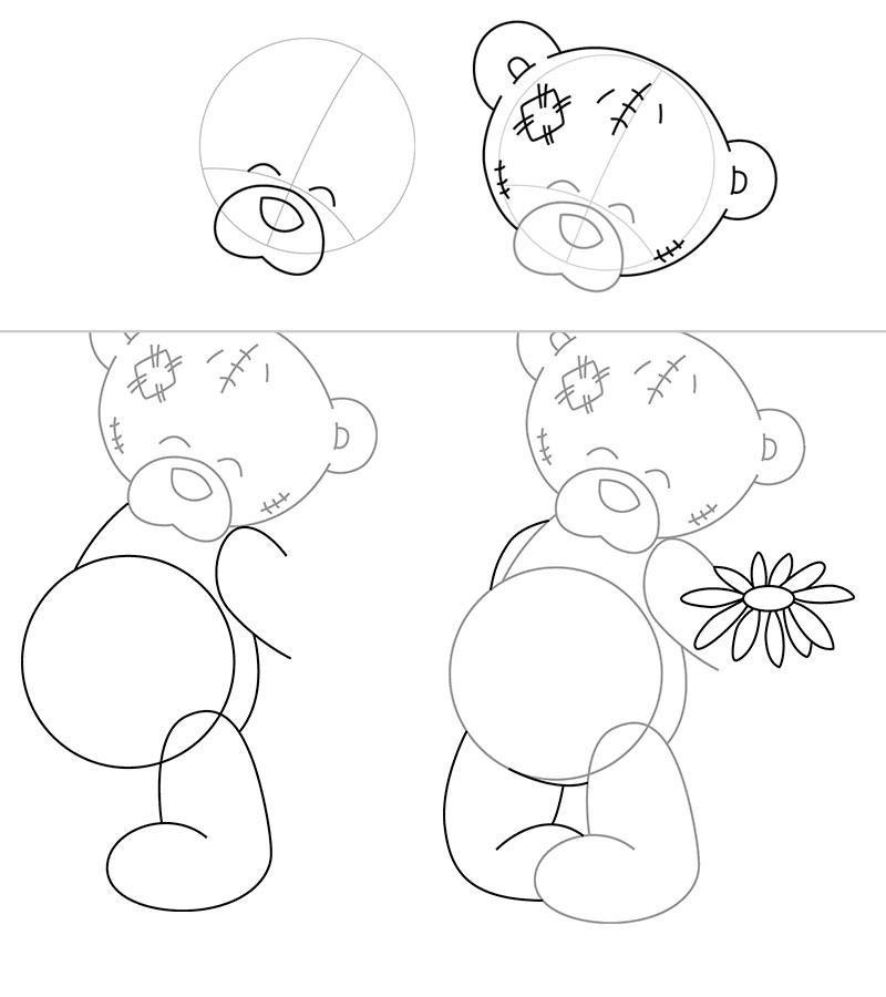 Открытки в схемах поэтапное рисование