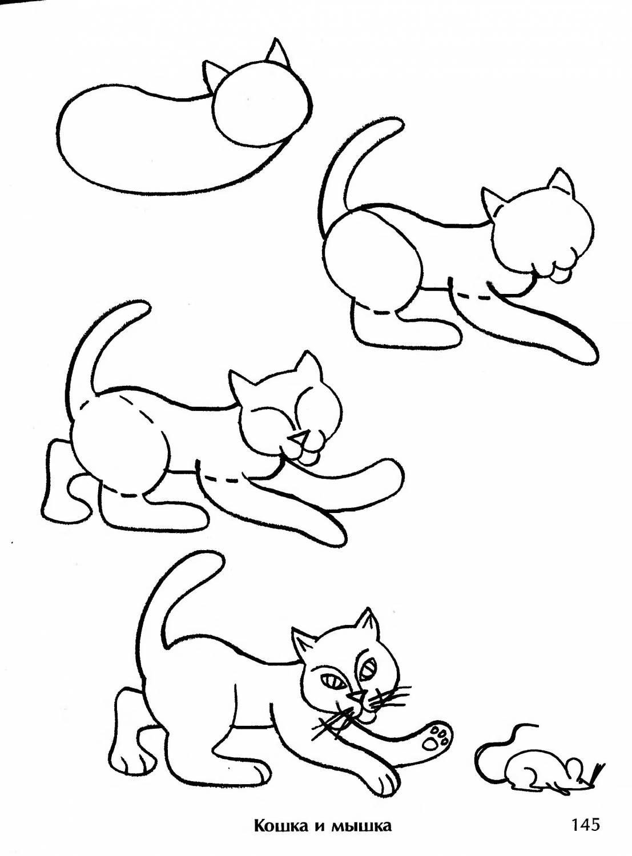 Смешной рисунок кота поэтапно