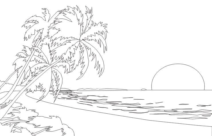 Картинка база отдыха у моря нарисовать поэтапно