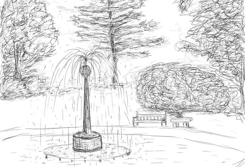 рисунок фонтана в парке карандашом тобой страшны