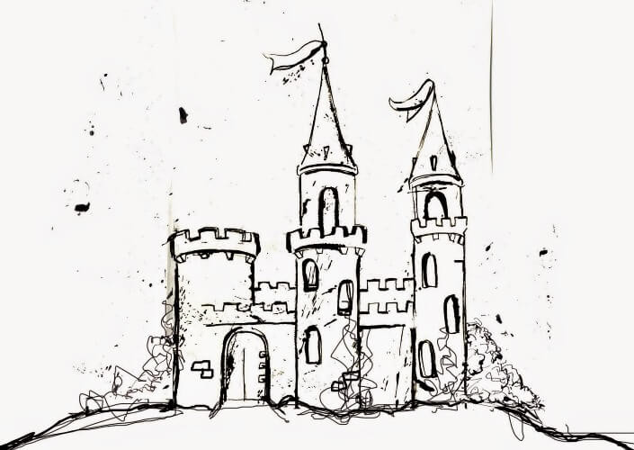 нарисовать замок поэтапно картинки проектировке декоративного камина