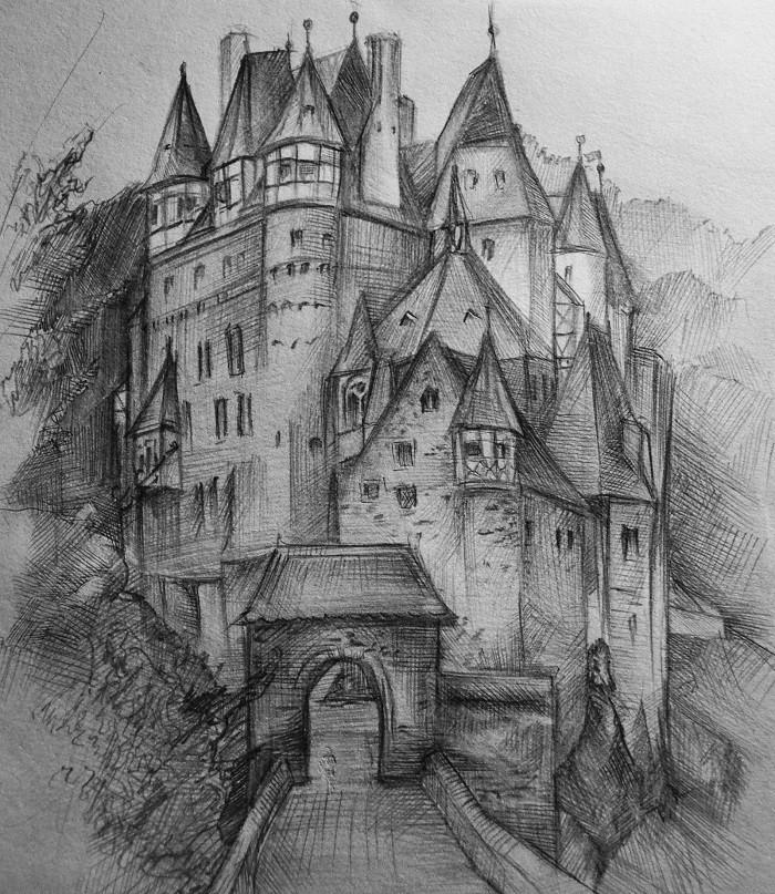 Картинки замки для срисовки