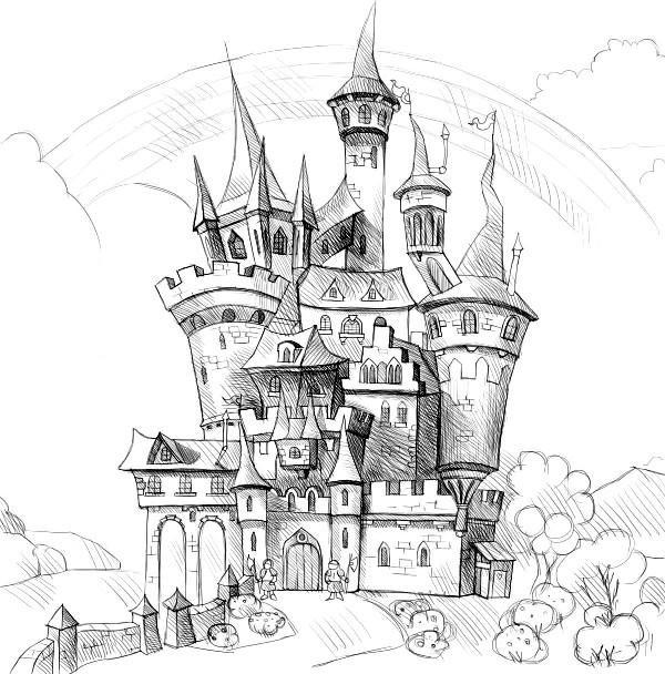 Нарисовать замок карандашом в картинках выполнить