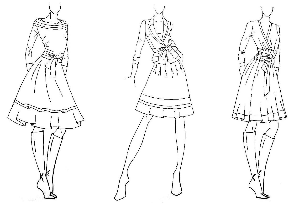 Картинки эскизов одежды для срисовки карандашом