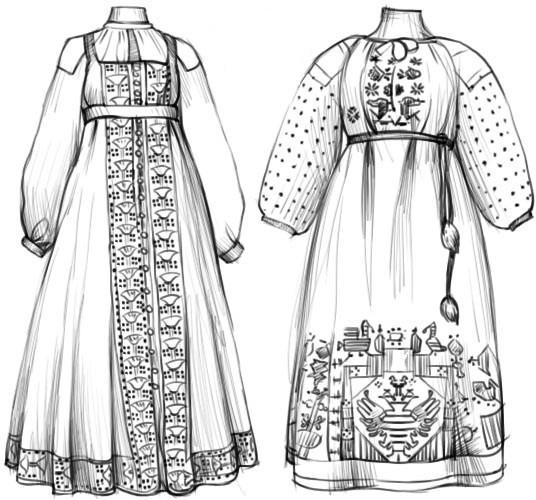 Старинные женские сарафаны рисунок
