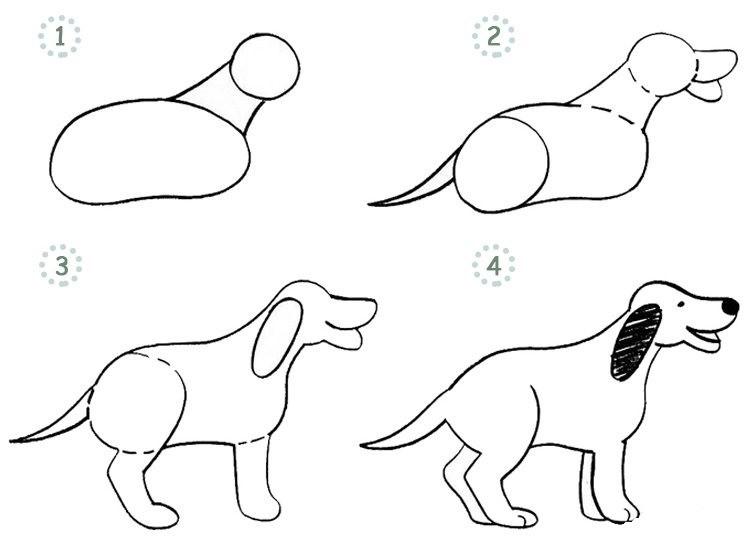Лисят прикольные, картинка пошагово собачка