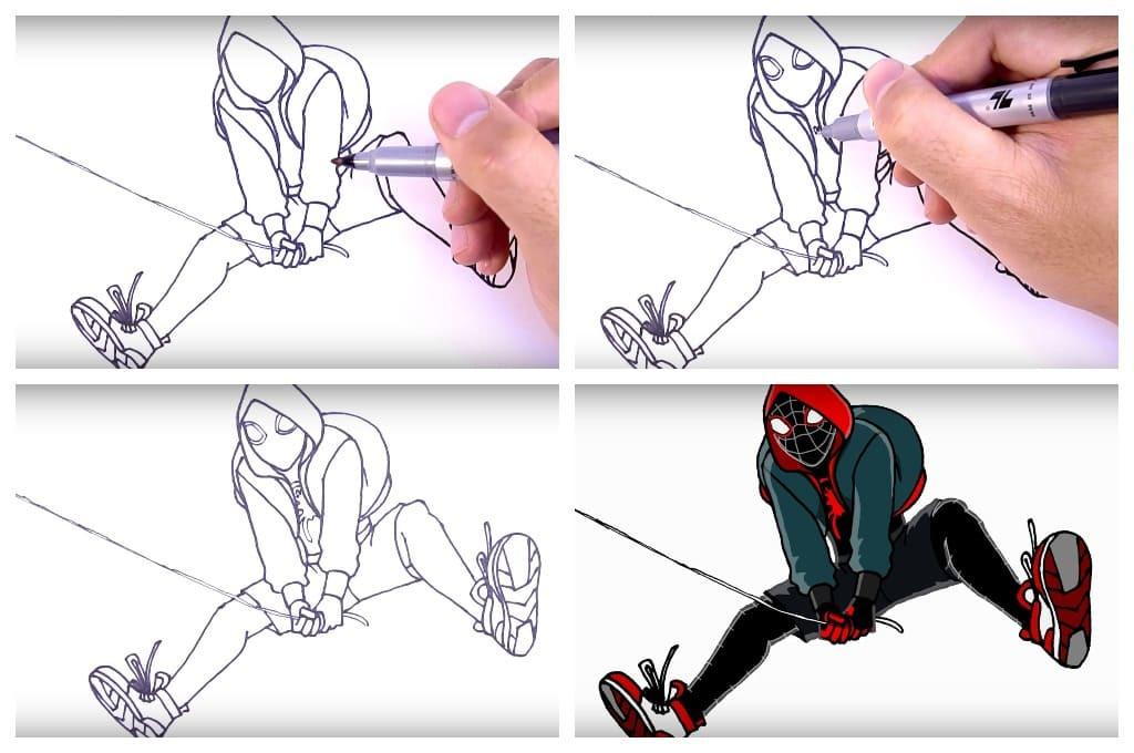 Человек паук через вселенные рисунки карандашом