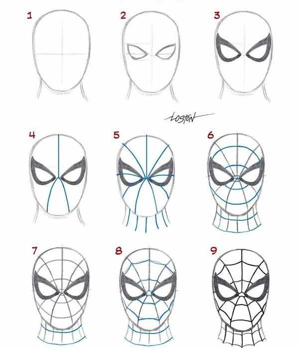 лицо человека паука картинки нарисовать осетровых домашних условиях