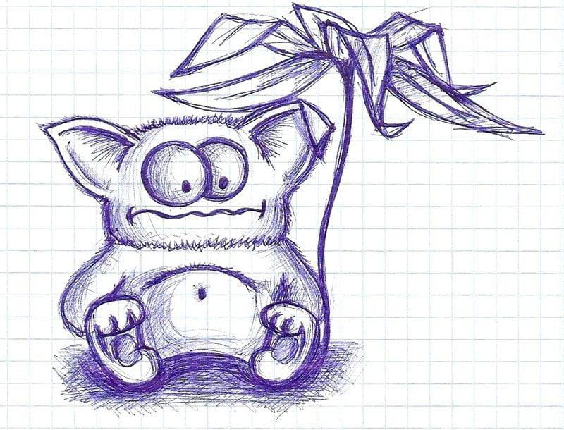 Прикольные рисунки ручкой в тетради для срисовки