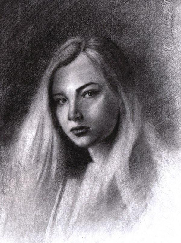 Рисунок углем портрет при отсутствии