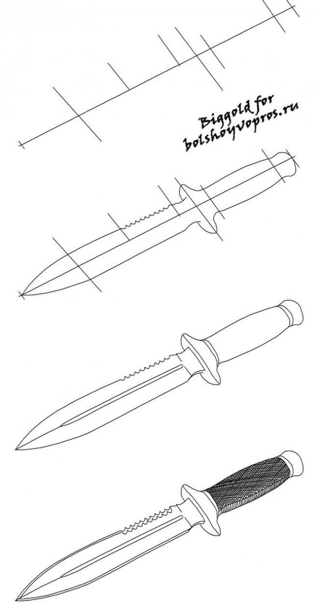 Крутые рисунки для пацанов карандашом ножы