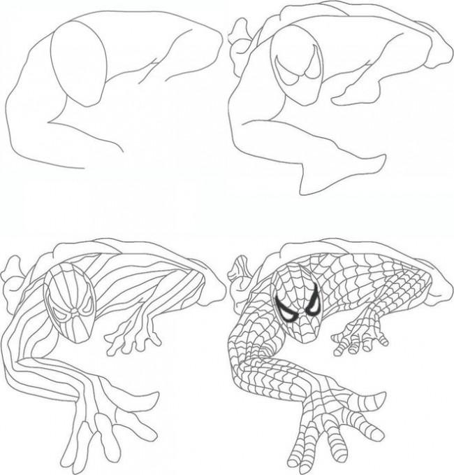 молодая легкие рисунки человека паука карандашом карточки-раскраски