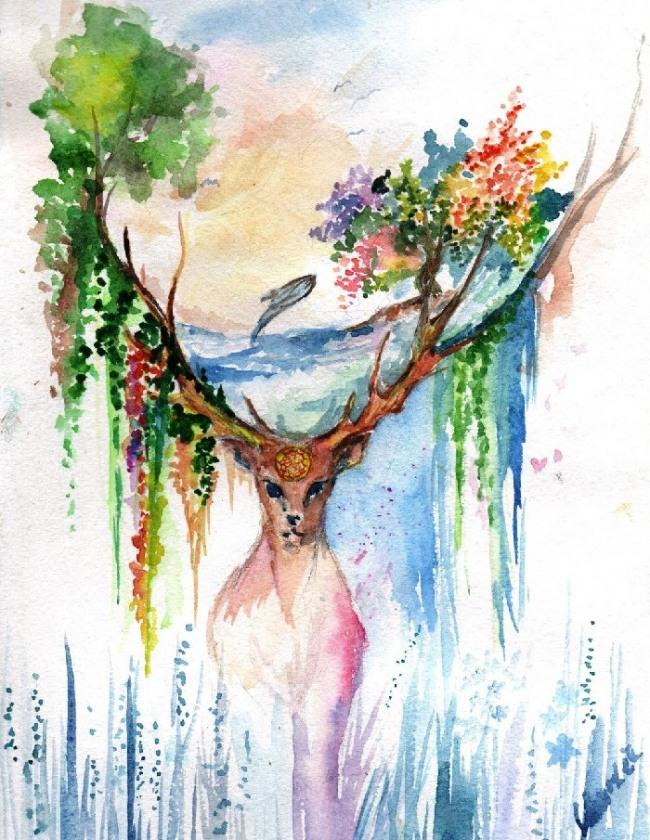 Картинки для срисовки в цвете акварелью